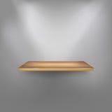 Realistische lege houten plank op de muur Stock Foto's