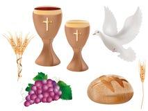 realistische lokalisierte christliche Symbole der Illustration 3d: hölzerner Messkelch mit Wein, Taube, Trauben, Brot, Ohr des We stock abbildung