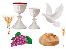 realistische lokalisierte christliche Symbole der Illustration 3d: weißer Messkelch mit Wein, Taube, Trauben, Brot, Ohr des Weize lizenzfreie abbildung