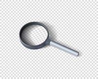 Realistische Lupe mit Schatten Das Konzept der Suche Vektorgestaltungselement lokalisiert auf einem transparenten Hintergrund stock abbildung