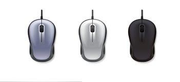 realistische Maus des Computers 3 auf weißem backgroundgrey, hellgrau und schwarz Auch im corel abgehobenen Betrag Stockfotos