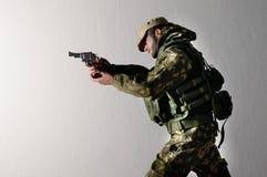 Realistische Miniaturseide der Spielzeugmannsoldat-Action-Figur Stockbild