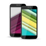 Realistische modellen van mobiele telefoon met de het schermspaarder op Sc Stock Fotografie