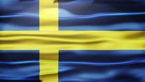 Realistische Naadloze Lijnvlag die van Zweden in de Wind met hoogst Gedetailleerde Stoffentextuur golven stock video