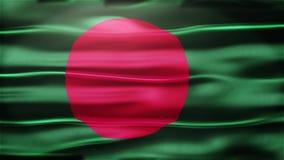Realistische nahtlose Schleifen-Flagge von Bangladesch wellenartig bewegend in den Wind mit in hohem Grade ausführlicher Gewebe-B stock abbildung