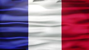 Realistische nahtlose Schleifen-Flagge von Frankreich wellenartig bewegend in den Wind mit in hohem Grade ausführlicher Gewebe-Be stock video footage