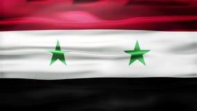 Realistische nahtlose Schleifen-Flagge von Syrien wellenartig bewegend in den Wind mit in hohem Grade ausführlicher Gewebe-Bescha lizenzfreie abbildung