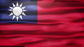 Realistische nahtlose Schleifen-Flagge von Taiwan wellenartig bewegend in den Wind mit in hohem Grade ausführlicher Gewebe-Bescha lizenzfreie abbildung