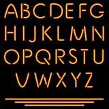 Realistische Neonröhre-Buchstaben. Vektor-Illustration. Neonalphabet. Lizenzfreie Stockfotos
