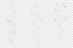 Realistische onderwater bruisende die luchtbellen op transparante achtergrond worden geïsoleerd Sodawater, luchtbellen royalty-vrije illustratie