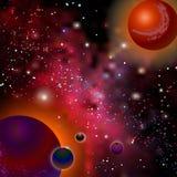 Realistische open plek De melkachtige manier, de sterren en de planeten Het ruimtelandschap van de beeldverhaalfantasie Vreemde p vector illustratie