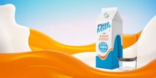 Realistische orange Milchvektorillustration mit Glas und Verpackung auf dem hellen Hintergrund bereit zu Ihrem Design Lizenzfreies Stockbild