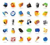 Realistische pictogrammen die voor interface worden geplaatst Stock Afbeelding