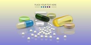 Realistische Pillen 3d Apotheke, Antibiotikum, Vitamine, Tablette, Kapsel medizin Vektorillustration der Tablets und stock abbildung