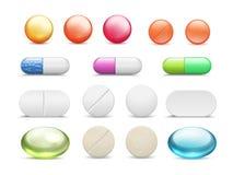Realistische Pillen Medizintabletten ringsum Vitamine und Kapseldrogen, unterschiedliche Gesundheitswesenapotheke Vektorheilungsm lizenzfreie abbildung