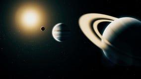 Realistische planeet Saturn van diepe ruimte royalty-vrije illustratie
