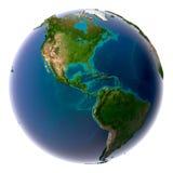 Realistische Planeten-Erde mit natürlichem Stockfotografie