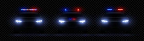 Realistische politiekoplampen Auto het gloeien geleid lichteffect, zeldzaam en voorsirenegloed, rode en blauwe politielicht Vecto vector illustratie