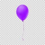 Realistische purpere ballon Vector illustratie Stock Afbeeldingen