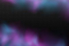 Realistische purpurrote blaue Wolke auf einem transparenten Hintergrund Mehrfarbiger abstrakter Nebel Moderner stilvoller Rauchef lizenzfreie abbildung