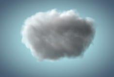 Realistische regenachtige wolk die over blauwe achtergrond drijven Royalty-vrije Stock Afbeeldingen