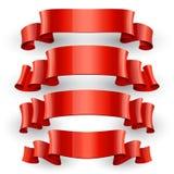 Realistische Rode Glanzende vector geplaatste linten Royalty-vrije Stock Afbeelding