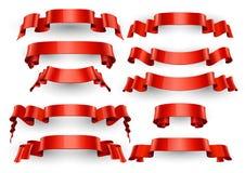 Realistische Rode Glanzende vectorlinten Grote reeks Royalty-vrije Stock Fotografie