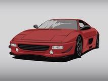Realistische rote Autokarikatur-Illustrationskunst im Breitbildverhältnis lizenzfreie stockfotografie