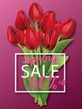 Realistische rote Tulpen Blumenstrauß Frühlingsrabatte, Broschüre, Broschüre Stockfotografie