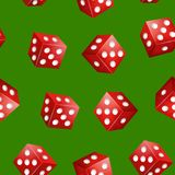 Realistische rote Würfel-nahtloser Muster-Hintergrund des Kasino-3d Vektor Lizenzfreie Stockbilder
