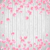 Realistische Sakura-bloemblaadjes op een witte houten achtergrond EPS 10 vector Royalty-vrije Stock Afbeeldingen