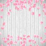 Realistische Sakura-bloemblaadjes op een witte houten achtergrond EPS 10 vector Stock Fotografie