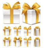 Realistische Sammlung 3D der bunten Goldmuster-Geschenkbox Stockfotografie