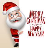 Realistische Santa Claus Cartoon Character Showing Merry-Kerstmis Stock Afbeeldingen