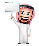 realistische saudi-arabische Zeichentrickfilm-Figur des Mann-3D, die leeres Plakat hält Stockfoto