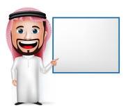 realistische saudi-arabische Zeichentrickfilm-Figur des Mann-3D, die leeres weißes Brett hält Stockbild