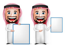 realistische saudi-arabische Zeichentrickfilm-Figur des Mann-3D, die leeres weißes Brett hält Stockfotos