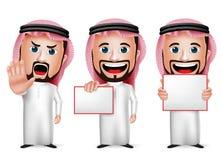 realistische saudi-arabische Zeichentrickfilm-Figur des Mann-3D, die leeres weißes Brett hält Stockfotografie