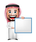 realistische saudi-arabische Zeichentrickfilm-Figur des Mann-3D, die leeres weißes Brett hält Stockbilder