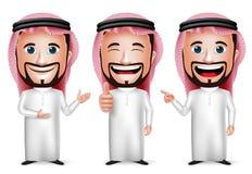 realistische saudi-arabische Zeichentrickfilm-Figur des Mann-3D mit unterschiedlicher Haltung Stockbild