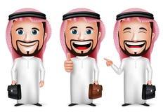 realistische saudi-arabische Zeichentrickfilm-Figur des Mann-3D mit unterschiedlicher Haltung Stockfotografie