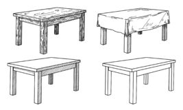 Realistische schets van verschillende lijsten in perspectief De reeks van de lijst Schotel Vector vector illustratie