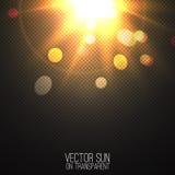 Realistische Sonne des Vektors auf transparentem Lizenzfreie Stockfotografie