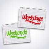 Realistische Spirale weekends Arbeitstagnotizbuch Lizenzfreie Stockfotografie