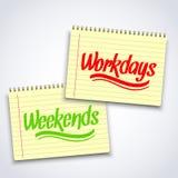 Realistische Spirale weekends Arbeitstagnotizbuch Stockfoto