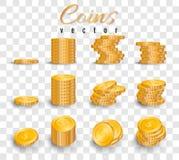 Realistische stapel gouden die muntstukken op transparante achtergrond worden geïsoleerd Stapel van gouden muntstukken Vector ill vector illustratie