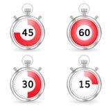 Realistische Stoppuhr mit roter Skala- und Sekundenstange Set Timer Stockbilder