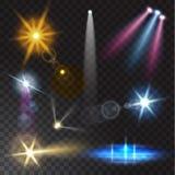 Realistische Strahlnlichter auf transparentem Hintergrund Lizenzfreies Stockfoto