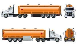 Realistische Tanklastzugschablone des Vektors lokalisiert auf Weiß Lizenzfreies Stockfoto