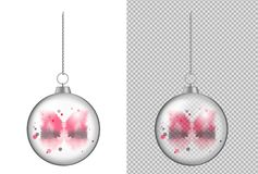 Realistische transparante Kerstmisbal met waterverf Nieuw jaar t vector illustratie